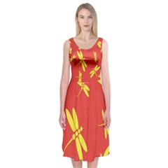 Red And Yellow Dragonflies Pattern Midi Sleeveless Dress