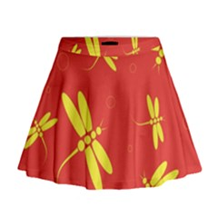 Red and yellow dragonflies pattern Mini Flare Skirt