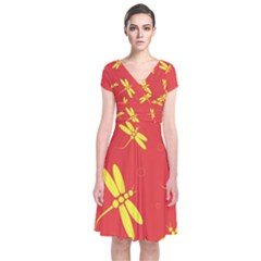 Red And Yellow Dragonflies Pattern Short Sleeve Front Wrap Dress