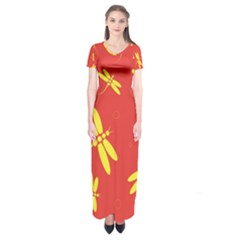 Red and yellow dragonflies pattern Short Sleeve Maxi Dress
