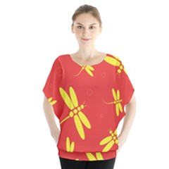 Red And Yellow Dragonflies Pattern Batwing Chiffon Blouse