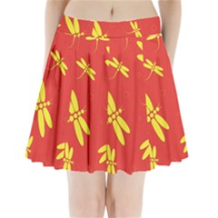Red and yellow dragonflies pattern Pleated Mini Mesh Skirt