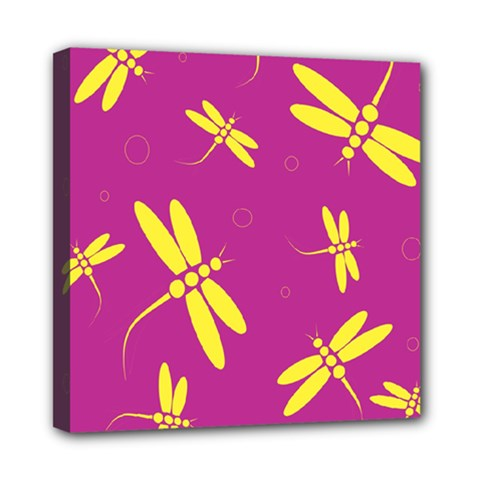 Purple and yellow dragonflies pattern Mini Canvas 8  x 8