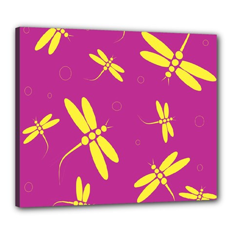 Purple and yellow dragonflies pattern Canvas 24  x 20