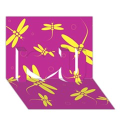 Purple and yellow dragonflies pattern I Love You 3D Greeting Card (7x5)
