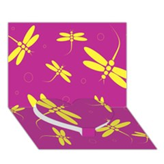 Purple and yellow dragonflies pattern Heart Bottom 3D Greeting Card (7x5)