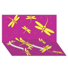 Purple and yellow dragonflies pattern Twin Heart Bottom 3D Greeting Card (8x4)