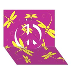 Purple and yellow dragonflies pattern Peace Sign 3D Greeting Card (7x5)