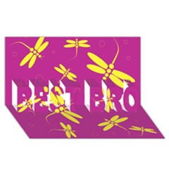 Purple and yellow dragonflies pattern BEST BRO 3D Greeting Card (8x4)