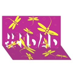 Purple and yellow dragonflies pattern #1 DAD 3D Greeting Card (8x4)