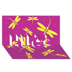 Purple and yellow dragonflies pattern HUGS 3D Greeting Card (8x4)