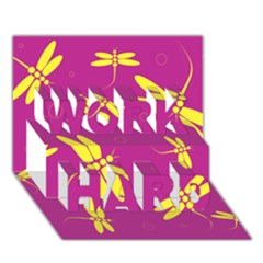 Purple and yellow dragonflies pattern WORK HARD 3D Greeting Card (7x5)