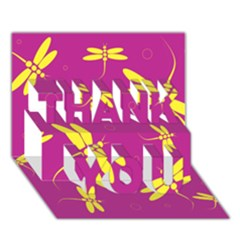 Purple and yellow dragonflies pattern THANK YOU 3D Greeting Card (7x5)
