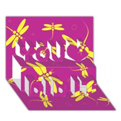 Purple and yellow dragonflies pattern You Did It 3D Greeting Card (7x5)