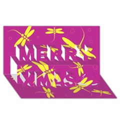 Purple and yellow dragonflies pattern Merry Xmas 3D Greeting Card (8x4)