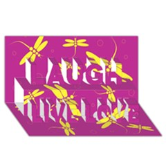 Purple and yellow dragonflies pattern Laugh Live Love 3D Greeting Card (8x4)