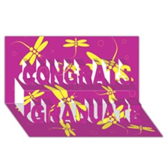 Purple and yellow dragonflies pattern Congrats Graduate 3D Greeting Card (8x4)