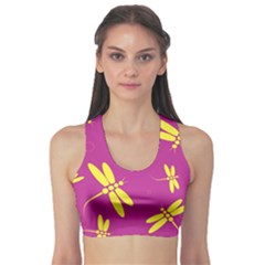 Purple and yellow dragonflies pattern Sports Bra