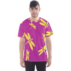 Purple and yellow dragonflies pattern Men s Sport Mesh Tee