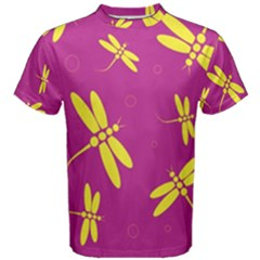 Purple and yellow dragonflies pattern Men s Cotton Tee