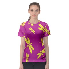 Purple and yellow dragonflies pattern Women s Sport Mesh Tee
