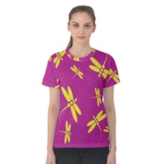 Purple and yellow dragonflies pattern Women s Cotton Tee