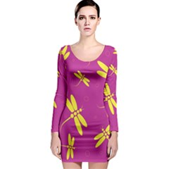 Purple and yellow dragonflies pattern Long Sleeve Bodycon Dress