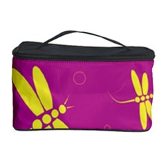 Purple and yellow dragonflies pattern Cosmetic Storage Case