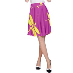 Purple and yellow dragonflies pattern A-Line Skirt