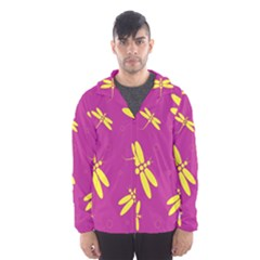 Purple and yellow dragonflies pattern Hooded Wind Breaker (Men)