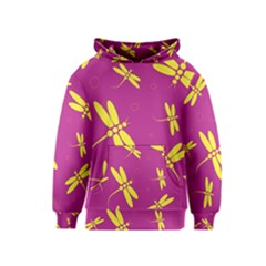 Purple and yellow dragonflies pattern Kids  Pullover Hoodie