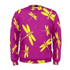 Purple and yellow dragonflies pattern Men s Sweatshirt