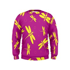 Purple and yellow dragonflies pattern Kids  Sweatshirt
