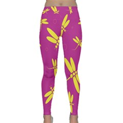 Purple and yellow dragonflies pattern Yoga Leggings