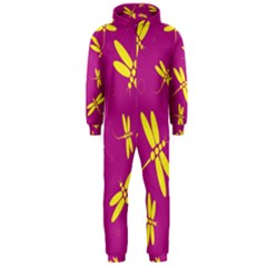 Purple and yellow dragonflies pattern Hooded Jumpsuit (Men)