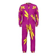 Purple and yellow dragonflies pattern OnePiece Jumpsuit (Kids)