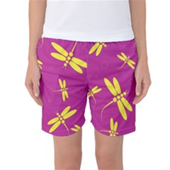 Purple and yellow dragonflies pattern Women s Basketball Shorts