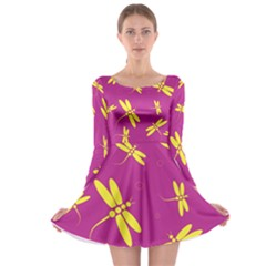 Purple and yellow dragonflies pattern Long Sleeve Skater Dress