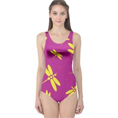 Purple and yellow dragonflies pattern One Piece Swimsuit