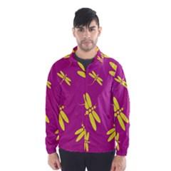 Purple and yellow dragonflies pattern Wind Breaker (Men)
