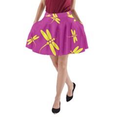 Purple and yellow dragonflies pattern A-Line Pocket Skirt
