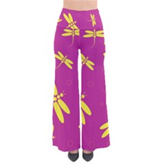 Purple And Yellow Dragonflies Pattern Pants