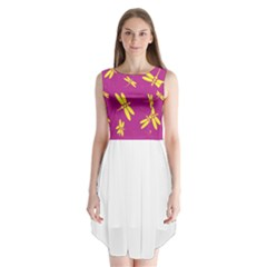 Purple and yellow dragonflies pattern Sleeveless Chiffon Dress