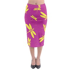 Purple and yellow dragonflies pattern Midi Pencil Skirt
