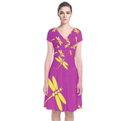 Purple and yellow dragonflies pattern Short Sleeve Front Wrap Dress