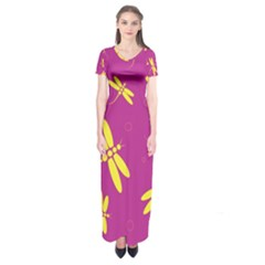 Purple and yellow dragonflies pattern Short Sleeve Maxi Dress