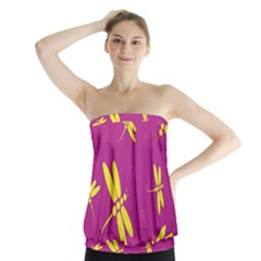 Purple And Yellow Dragonflies Pattern Strapless Top