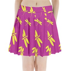 Purple and yellow dragonflies pattern Pleated Mini Mesh Skirt