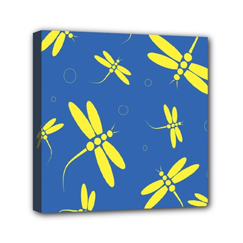 Blue and yellow dragonflies pattern Mini Canvas 6  x 6