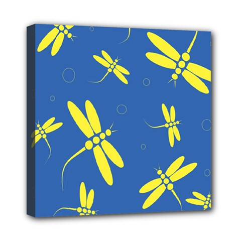 Blue and yellow dragonflies pattern Mini Canvas 8  x 8